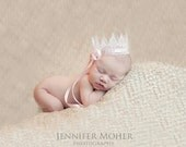 Lace Crown, Sweet Vintage White Lace Baby Crown with Pink Ribbon, Newborn Crown, Newborn Photography Prop, Baby Crown