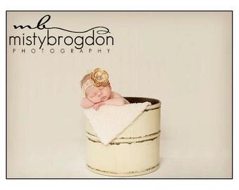 Newborn Headband, Beautiful Vintage Inspired Tan Flower on Sretchy Tan Lace Headband, Perfect Photography Prop, Baby Headband, Baby Girl