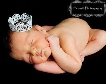 Newborn Crown, Hand Painted Mini Lace Crown, Newborn Photography Prop, You choose the color, Lace Crown, Newborn Crown, Baby Crown