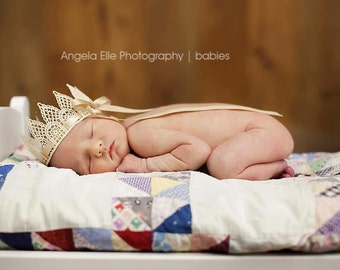 Newborn Crown, Vintage Cream Lace Crown with Gold Satin Ribbon, Newborn Photography Prop, Lace Crown, Baby Crown