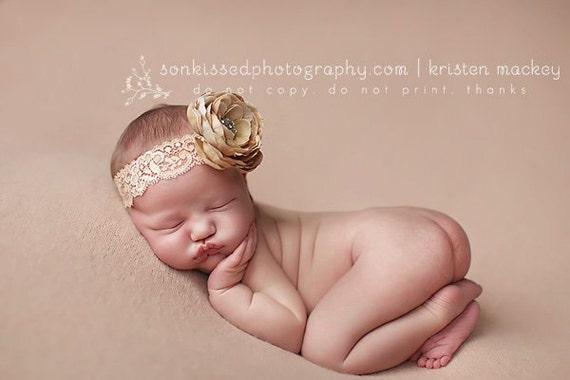 Flower Headband, Newborn Photography Prop, Beautiful Newborn Tan Flower on Sretchy Lace Headband, All Sizes, Girl Headband, Baby Headband