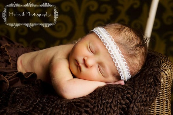 Newborn Tieback, Cream Lace and Pearl Newborn to Child Halo, Newborn Photography Prop, Baby Girl Tieback