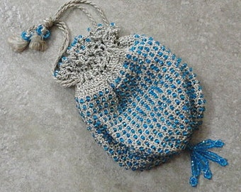 Vintage CROCHETED & BEADED BAG - Gray with Blue Glass Beads