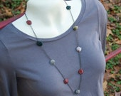 Tumbled Agate and Gunmetal Chain Long Necklace