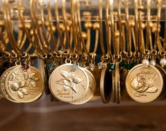 Birthstone bracelet-Birthstone charm bracelet-Birthday bracelet-Birthday jewelry-October-birthday- November -Mother's bracelet-Bangle-Gold