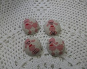 Fabric Button Pink Poodle 4 pcs 2 cm / 0.79 inch (Stock Clearance)