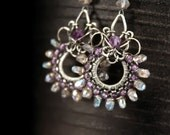 RESERVED - Harlequin earrings - sculpted wrapped sterling silver, sparkly faceted labradorite and beautiful amethyst - FREE shipping