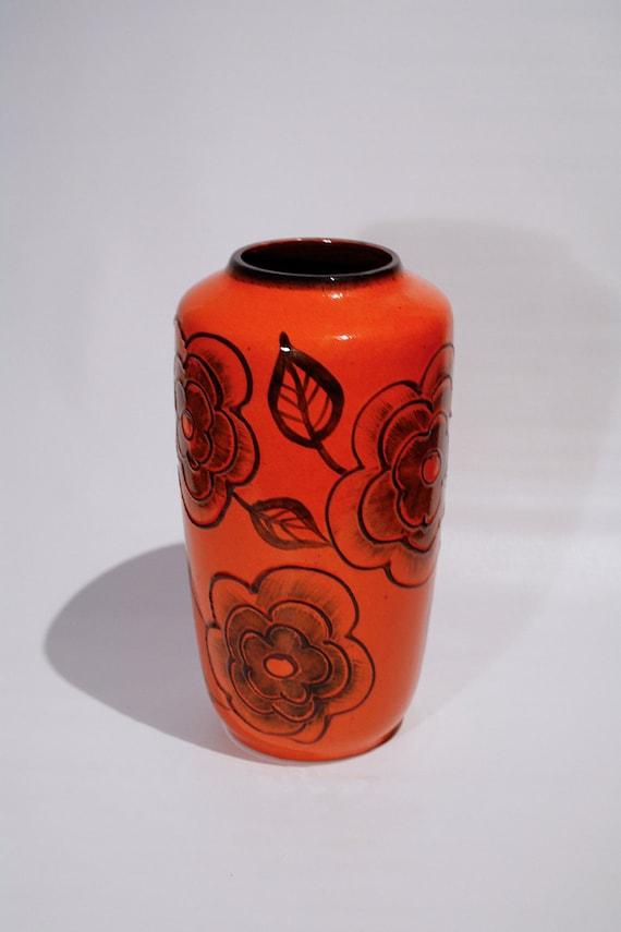 Large bright orange Scheurich West Germany 517-38 floor vase, handpainted flower decoration