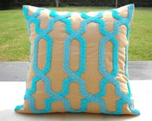 Blue Geometric Bead Cushion,16X16 inches,Beige Cotton linen hand embroidered using Robin's blue beads to form a plush geometric pattern