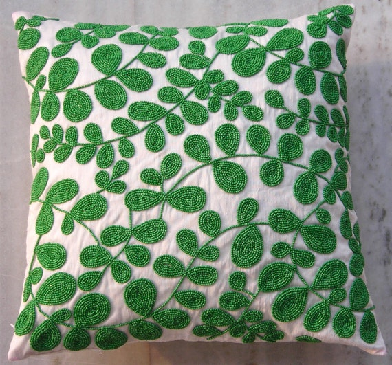 Green Petal Cushion,16 X 16 inches,White cotton silk hand embroidered using matte green beads in a leafy pattern