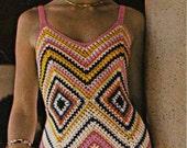 1960s VINTAGE CROCHET PATTERN to make Chevron Granny Square Maxi Dress, Boho/Hippie/Gypsy, Instant Download Pdf from GrannyTakesATrip 0143