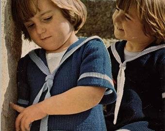 1970s Child's Sailor Top/Dress/Tunic VINTAGE KNITTING PATTERN -Nautical/Matelot Retro Kids, Instant Download Pdf from GrannyTakesATrip  0124