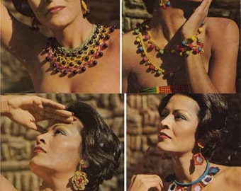 1970s Vintage JEWELLERY CROCHET PATTERN: Necklaces Bracelets Earrings, Ethnic/Tribal jewellery, Instant Pdf from GrannyTakesATrip 0141