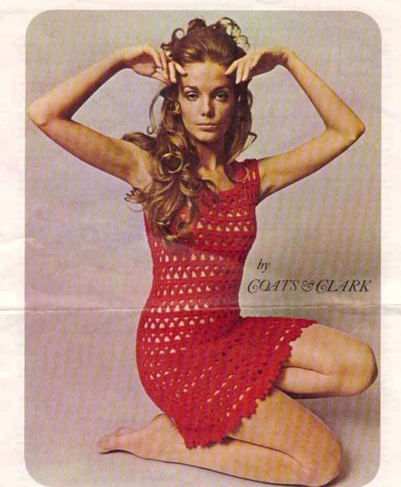 1960s Red Lace Dress VINTAGE CROCHET PATTERN Sheer Boho/Party/Club/Mini-dress or tunic top Instant Download Pdf from GrannyTakesATrip 0008