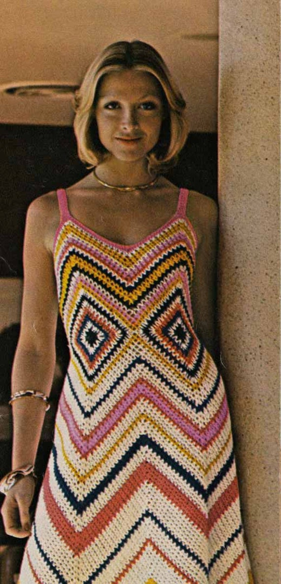 Crochet Granny Square Dress Patterns : 1960s Boho Granny Square Maxi Dress VINTAGE CROCHET PATTERN