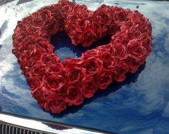 Junbo Heart of Silk Roses Wedding Car Decoration
