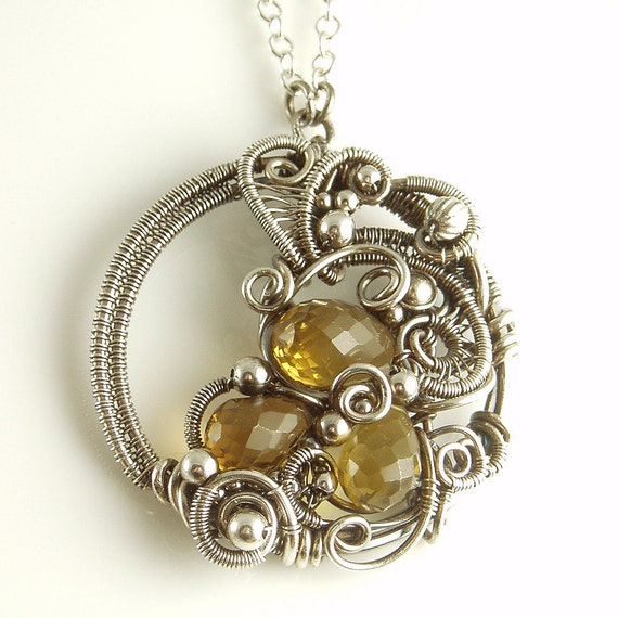 RESERVED   - Cognac Quartz and Sterling Silver Wire Sculpted Necklace