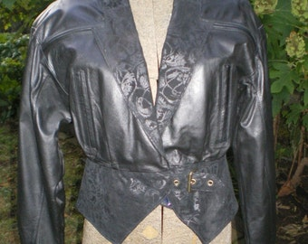 Vintage Womans Leather Jacket with Embossed Suede Accents
