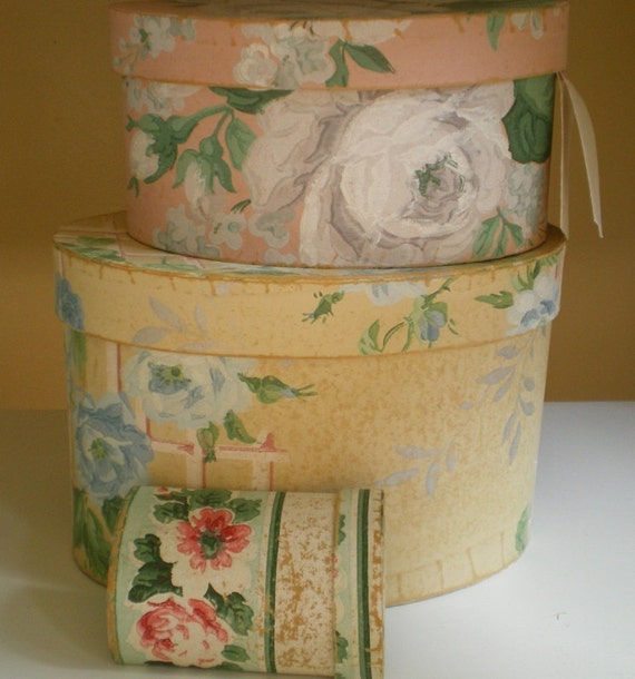 Vintage Wallpaper Boxes with Calling Card Box Set of 3 RESERVE TINA