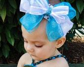 Girl's Hair Bow Large Teal Silver - Custom Colors