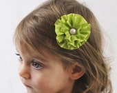 Apple Green Flower Clip - Flower Hair Bow Green with Pearl - Adult Hair Clip Green Flower