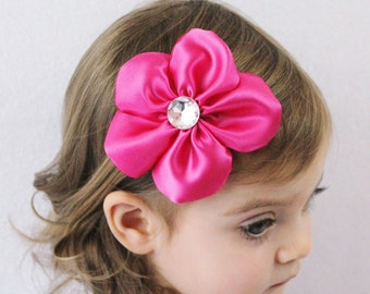 Pink Flower Hair Clip - Flower Hair Bow Hot Pink Satin - Toddler Girl Adult Hair Accessory