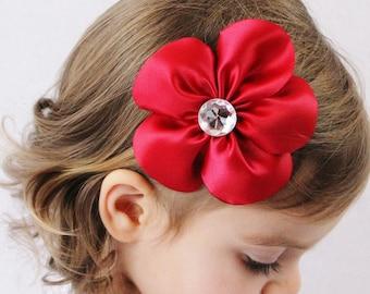 Deep Red Flower Hair Clip - Flower Hair Bow Red Satin - Toddler Girl Adult Hair Accessory
