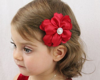 Red Wedding Flower Hair Bow - Fancy Layered Flower Hair Bow - Red Flower Bow for Girls