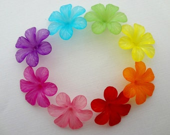 30mm Frosted Lucite Flowers - You choose colors