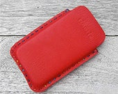 Hand stitched leather iPhone 4 / iPod Touch / Droid cell phone case in bright red full grain leather and rainbow coloured waxed thread