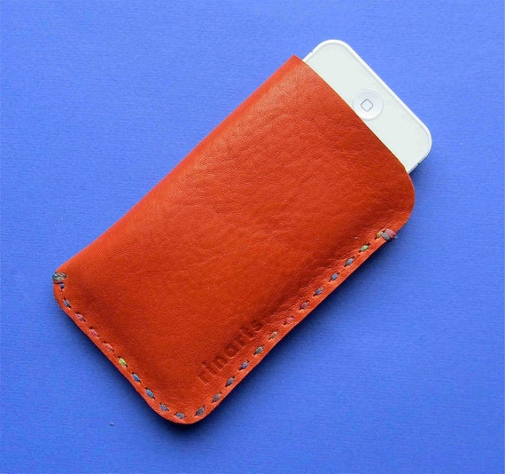 iPhone 4s case / iPod Touch / android cell phone case in bright orange red  leather handstitched with rainbow colored waxed thread
