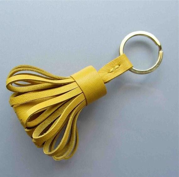 Luxury leather tassel / keyfob in yellow lambskin.   A perfect gift