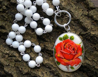 Rosary Style Necklace with Red Rose Pendant