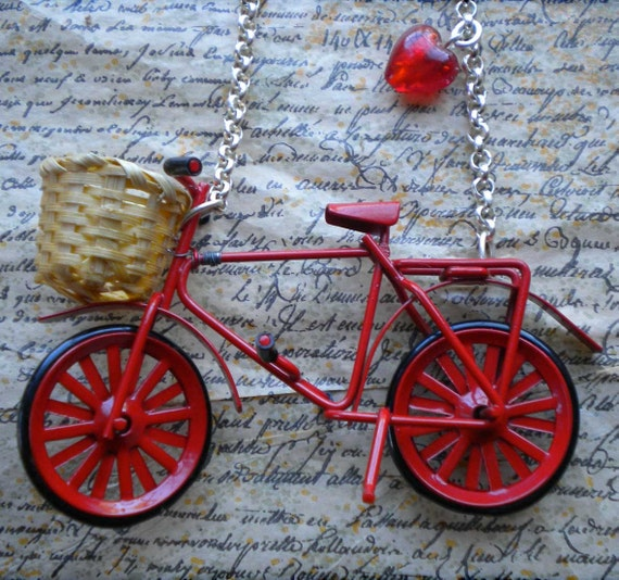Vintage Red Dutch Bicycle Necklace with wicker basket