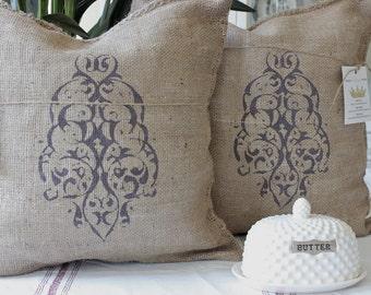 2 , Burlap Pillows, French Grainsack Pillow, Burlap Pillows , Custom Pillows, Designer Pillow, Decorative Pillow,Modern Vintage Market