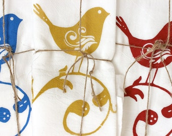 "3 ""SWEET BIRDS"" Tea Towels- Floursack Kitchen Towels - Sweet Birds   - Dish Towel - Tea Towel"