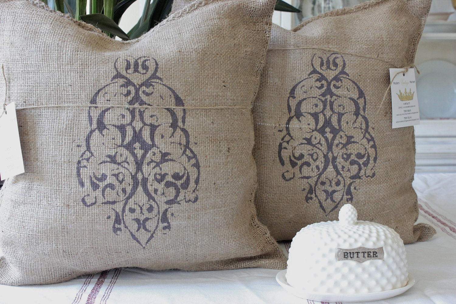 Burlap Throw Pillows Etsy : 2 Burlap Pillows French Grainsack Pillow Burlap Pillows