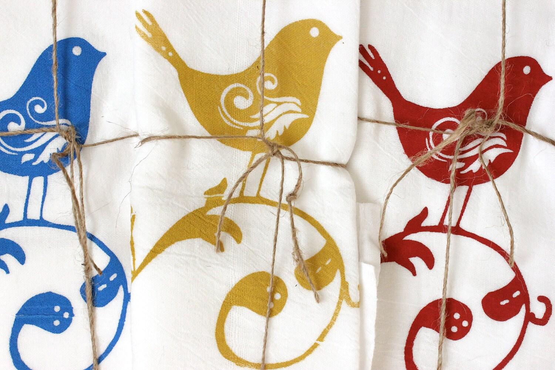 3 sweet birds tea towels floursack kitchen towels