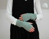 Mint green crochet fingerless gloves