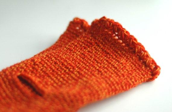 Soft and warm fingerless gloves, crochet wrist warmers in orange