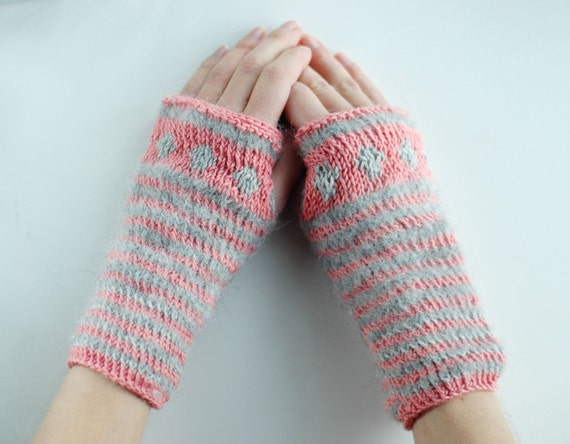 Pink and grey striped knitted fingerless gloves