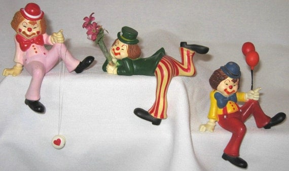 Vintage Clown Set of 3 Circus Shelf Resin Balloons Flowers and Yo Yo's Multi Colored Decorations Fun