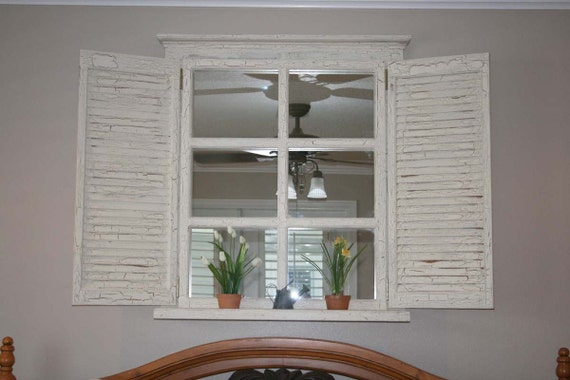 Items Similar To Decorative Window Mirror With Shutters