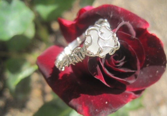 1 carat Solitaire Moonstone Fairy Vine Ring - Size 6 1/2, or custom size