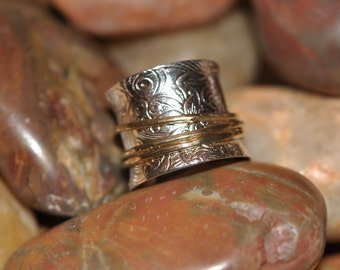 Sterling Silver and 14K Gold Textured Kinetic Ring By New York Designer ATTITUDE by Jeanne