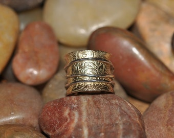 14K Gold and Sterling Silver Textured Kinetic Ring By New York Designer ATTITUDE by Jeanne