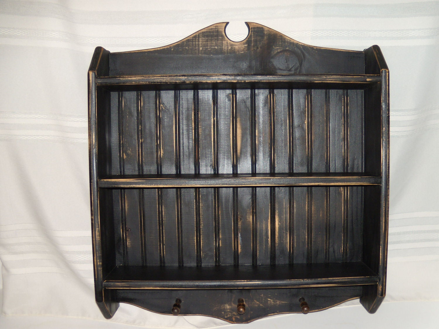 Very Impressive portraiture of Black antiqued wall shelf with pegs and bead by MMWoodworking with #81674A color and 1500x1125 pixels