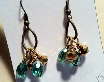 Gold and Turq Drop Earrings
