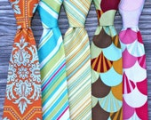 orange tie - yellow ties - orange damask tie - pink tie for boys - teal and pink neck tie - ties for kids - ties for men - ring bearer ties
