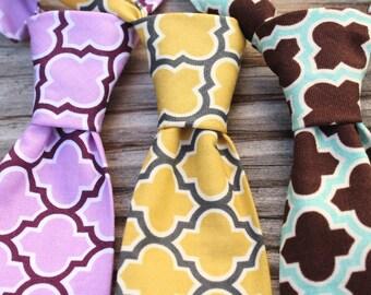 Yellow and Grey Wedding, baby neck tie, boys necktie, brown tie, lavender necktie, brown and mint tie, yellow and gray tie